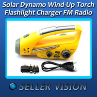 Wholesale Solar Dynamo Wind Up Torch Flashlight Charger With FM Radio SCA