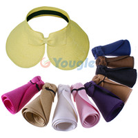 Wholesale Fashion Girl Lady Beach Sun Visor Foldable Roll Up Wide Brim Straw Hat Cap