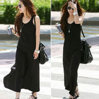 Wholesale 2015 Newest Arrivals Fashion Casual Ladies Womens Toga Jersey Black Racer Back Vest Long Maxi Dresses Dress Q10