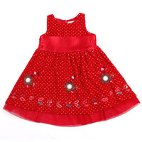 Wholesale H3505 Red Nova y y Baby girls princess dress for Christmas party dress girls polka dot velvet dress flower tank top dress for winter