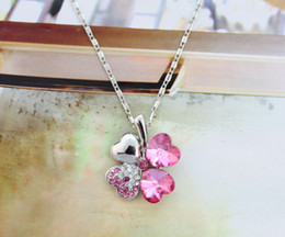 1PCS Rose Red Crystal Lucky Clover Pendant Chain Necklace #23268