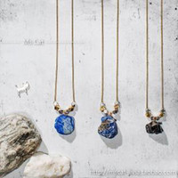 Women's Gold Plate/Fill Pendant Necklaces Handmade High energy stone natural stone lapis lazuli black tourmaline necklace