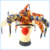 Wholesale Halloween Adult Clown Hat And Nose Mens Costume Kit Masquerade Party FANCY DRESS party hat or party mask