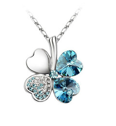 1PCS Turquoise Blue Crystal Lucky Clover Pendant Chain Necklace #23269