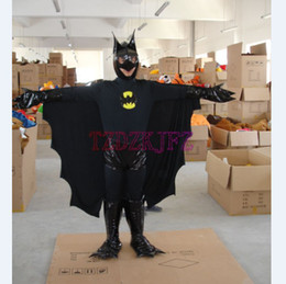 Wholesale Black Batman Cartoon Mascot Festive Costumes Costum Made Zentai Catsuit Costumes