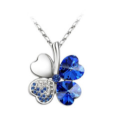 1PCS Dark Blue Crystal Lucky Clover Pendant Chain Necklace #23270