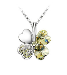 1PCS Light Yellow Crystal Lucky Clover Pendant Chain Necklace #23271