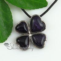semi precious stone - four clover tiger s eye natural semi precious stone pendant necklaces Fashion jewelry Spsp1881cy0 cheap fashion jewelry