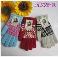 Wholesale New type jacquard cloth rabbit hair with abb s ms gloves in winter to keep warm the knitting wool gloves