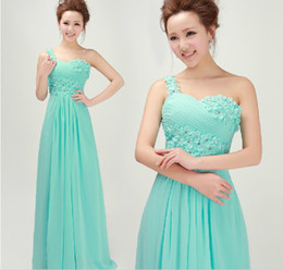 Wonderful Fashion Elegant One shoulder Crystal Sweeaheart sequin beaded Ruffle floor length evening party gown prom dress