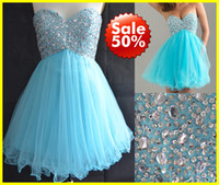 Real Photos A-Line Tulle SD034 Under $100 2~16 us size In Stock Real Sample Corset Sweet-heart Beaded Blue Tulle Sequins Homecoming Short Prom Dress Gown Dresses