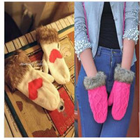 Wholesale Twist ms han edition cute winter pure manual weaving and thicken warm neck hung wool maomao fashion gloves