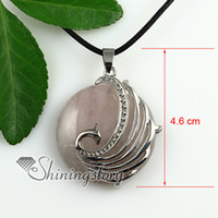 Wholesale round peacock rose quartz glass opal tiger s eye amethyst semi precious stone necklaces pendants Fashion jewelry necklace Spsp1946gy0