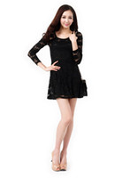 Round Knee Length A Line 2 Pcs lot + Sexy New Ladies Womens Full Floral Lace Long Sleeve Skater Skirt Dress