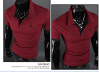 Men Stand Collar Short Sleeve Free shipping New Polo Shirt For Men Luxury Casual Slim Fit Stylish Short-Sleeve Cotton T-shirt M-XXL