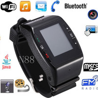 Wholesale 2013 Newest WIFI TOUCH Watch Phone N88 Quadband with Camera Bluetooth JAVE FM MP3 MP4 Game E Book GPRS WAP Support Russian