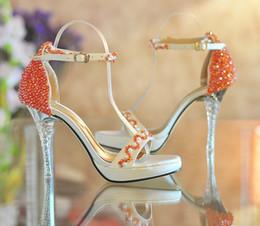 Wholesale Open Toe de tacón Alto Zapatos de Plataforma de color Naranja con cuentas de ultra alta talones Vestido de Verano de los zapatos de Novia Zapatos de la Boda de Dama de honor de Zapatos de Verano Sandalias
