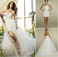 Wholesale NEW Wedding Dresses Sweetheart Two Piece Design Lace Short Mini Bridal Gowns Detachable Train Tulle GA