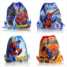 Wholesale kids love spiderman kids Cartoon Drawstring Backpack Bag school bags Non woven34 CM