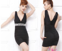 Reference Images Short/Mini Lace 2012 new diamond sexy nightclub dress V-neck tight package hip skirt 8834
