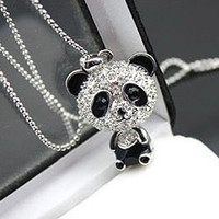 Wholesale 12pcs Fashion Cute Panda Necklace Full Crystal Panda Pendant Necklace sweater chain Necklace Animal Jewelry