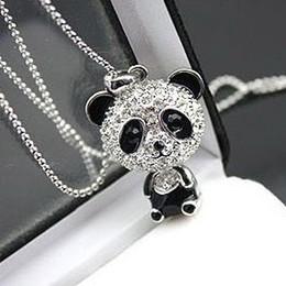 Animales libres en venta-12pcs / lot liberan el collar lindo de la panda de la manera del envío, collar pendiente de la panda cristalina llena, joyería animal del collar de la cadena del suéter