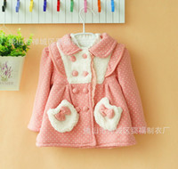 3-6Y Without Hood Girl Latest Children Girls Winter Coat Dots Kid Girl Thicken Fleece Lapel Fly Sleeve Bowknot Pocket Double-breasted Cotton Wadded Jacket 2798