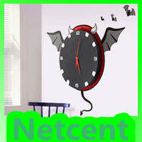 Wholesale 3D DIY Animals creative combination Wall Sticker Wall Clock Novelty Design