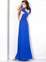 Chiffon Sleeveless Ankle-Length 2013 Elegant Evening Dresses Asymmetrical Neckline Ruched Side Beaded Ankle Length Bridesmaid Dresses ZJ224
