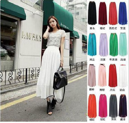 Wholesale Women Elegant Chiffon Pleated Retro Long Dress Elastic Waist Band Skirt Drop shipping