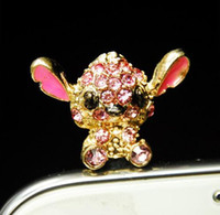 Wholesale Cute Chihuahuas Anti dust Plugs Full Crystal Fashion Phone Accessories LM P101