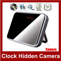 Wholesale HD1280 Spy Camera Digital Mirror Clock Style Hidden Camera DVR T1000 with Motion Detection amp Remote Control