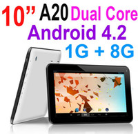 Wholesale 10 Inch Android A20 Dual Core MID GHz Tablet PC Capacitive Multi Touch Screen GB RAM GB Dual Camera Wifi HDMI Webcam