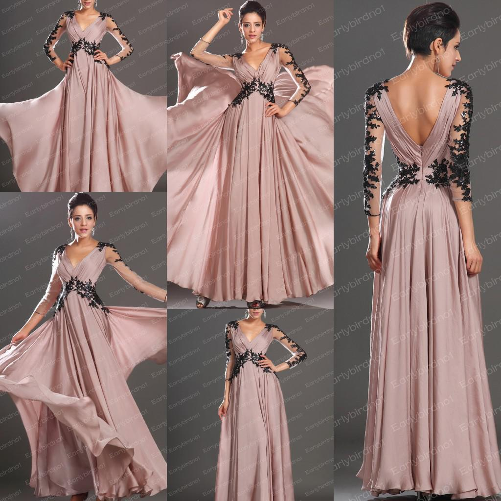 2013 Fall Prom Dresses V Neck Long Sleeve Black Applique Lace ...