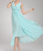 Wholesale Double deep v neck chiffon dress was thin waist bohemian beach dress
