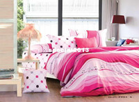 Adult Twill Printed brand new hot pink polka dot pattern full queen girl's bedding home textile 100% cotton comforter quilt duvet covers sets 4pc #T