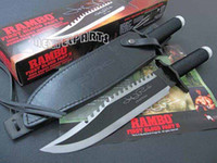 Wholesale 100 Brand New Hot Sell OEM Rambo II Signature Autograph Bowie Licensed Fixted Knife For hunting with survial kit and pouch With Box