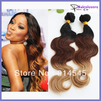 Body Wave Brazilian Hair  hot sale 5A quality ombre hair extensions 1b #4 27# three tone color Brazilian virgin hair body wave weft 3pcs lot free shipping