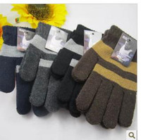 Wholesale New men points refers to refers to all the stripe gloves wool lining and pile driving gloves