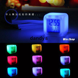 Wholesale Best selling Glowing LED Color Change Digital Alarm Mood Clock Multifunction music led Colourful clock