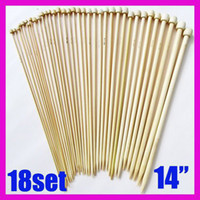 knitting needle - 18 Sets Bamboo Smooth Single Pointed Knitting Needles quot cm mm mm Size