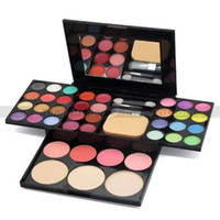 7 Colors Cream Eye Shadow color make up palette brush pen tool makeup set 24 eyeshadow + 4 blusher+ 3 powder puff + 8 lipstick + mirror
