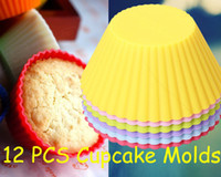 Wholesale 12pcs Silicone Round Mini Cupcake Muffin Cake Case Cup Baking Mould Mold Tin Pan
