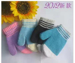 Wholesale Lovely rabbit wool cloth with abb in winter to keep warm bag children mitten even mixed color gloves