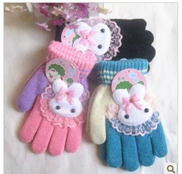 Wholesale New children lace rabbit finger gloves manufacturers selling cartoon gloves to keep warm in winter