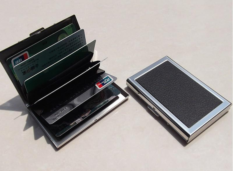 Business ID Credit Card Wallet Holder Leather Stainless ...