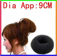 Hair Roller big hair bun donut - For Ladies Headwear Tool Big Black Soft Hair Bun Ring Donut Forner Styling Style Design Salon Tool