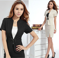 Women Dress Suit Formal 2013 Women's Summer Autumn Spring Work Wear Slim Fall Skirts Ladies Plus Size XXL Business Formal Office Suits Black & Apricot