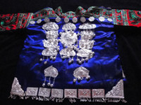 hmong - Tribal Vintage Clothing Costume Dress Hmong Miao Silk Brocade Silver Ornament Jacket YP