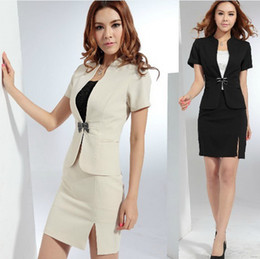 Wholesale 2013 summer new women skirt sets formal fashion ol suits for ladies work wear set black apricot plus size